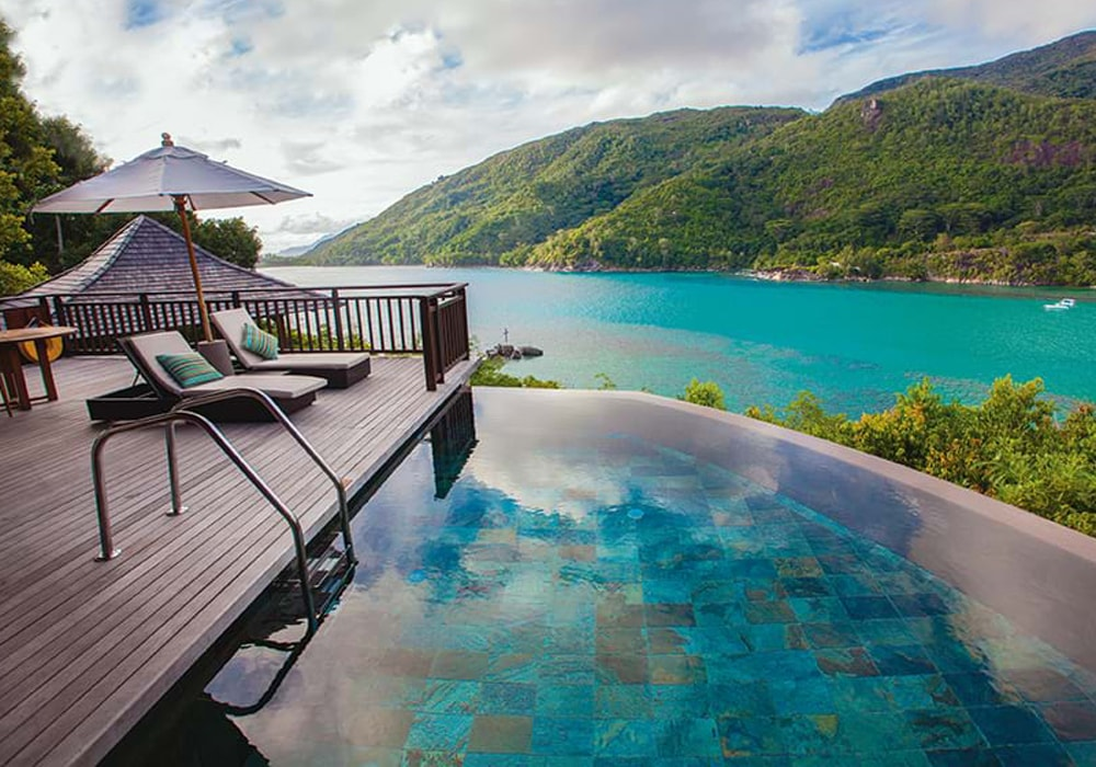 seychelles swimming pool and sea