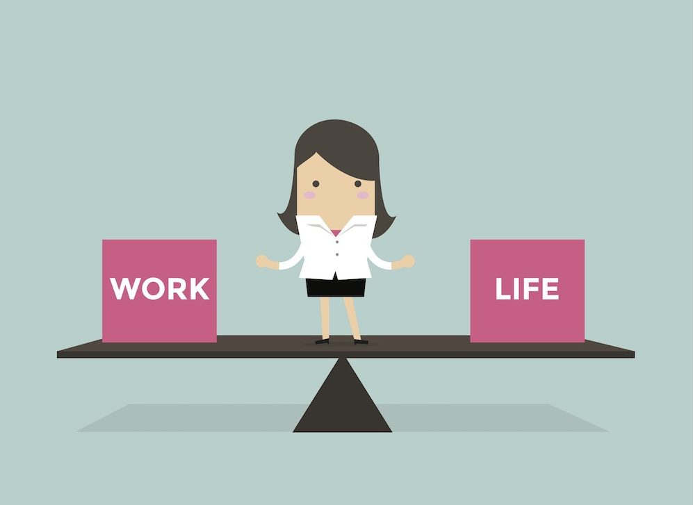 animation of woman and work life balance scales