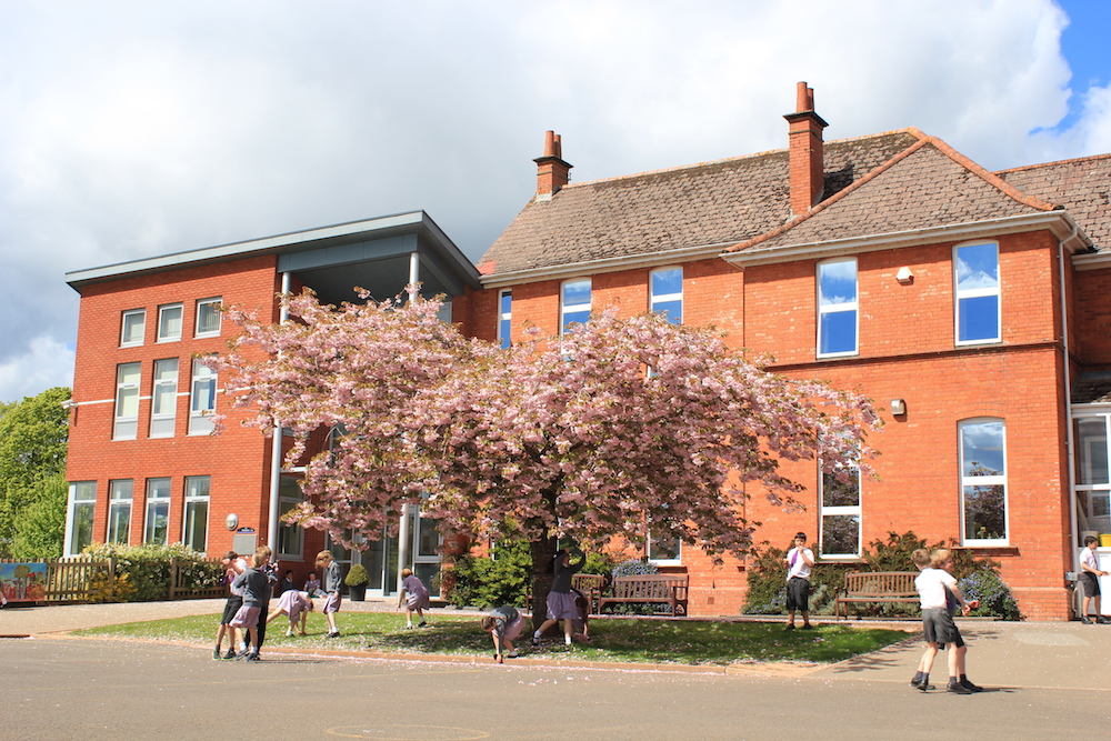 exterior red brick school building