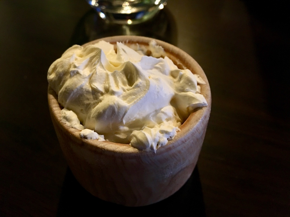 wooden bowl of whipped butter