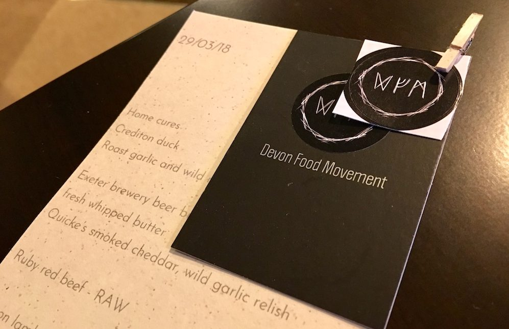 Devon Food movement menu