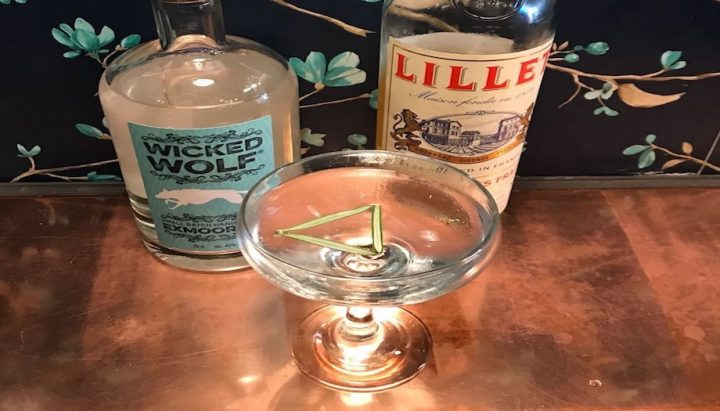 wicked wolf gin lillet blanc vermouth gin glass rosemary leaves