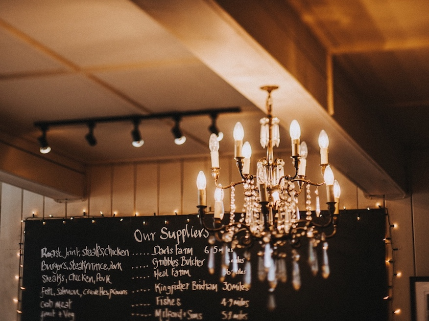 chandelier and blackboard