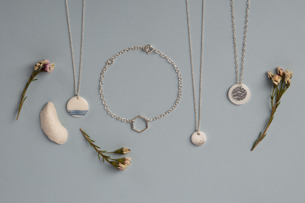porcelain and silver jewellery range
