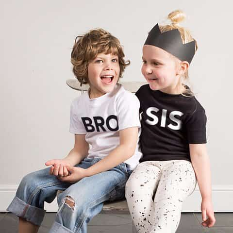 brother and sister wearing bro and sis t shirts