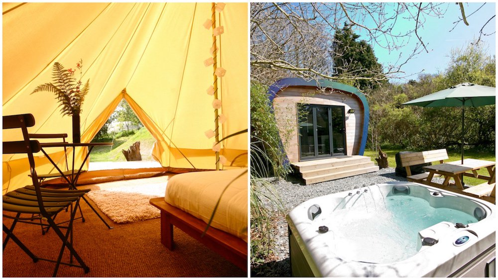 hot tub eco pod interior bell tent