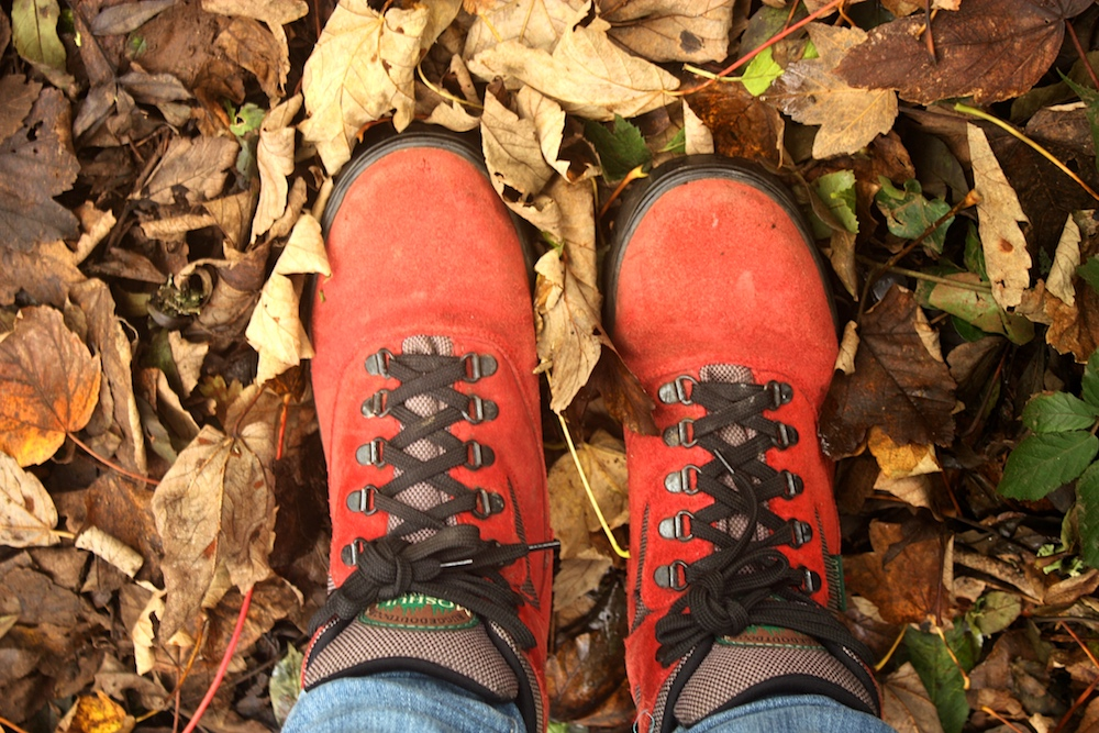 red hiking boots on leaves