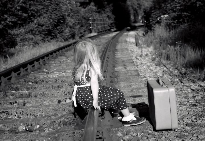 girl on railway track