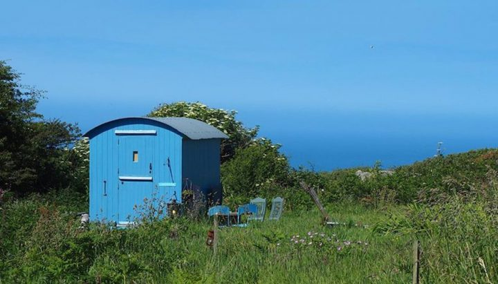 blue shepherds hut sea view