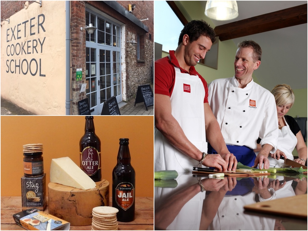 exterior exeter cookery school chefs cheese and beer and crackers