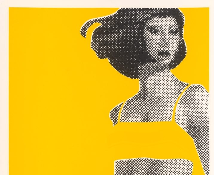 print of woman in bikini against yellow background pop art
