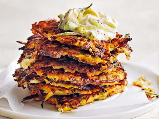stack of vegetable fritters