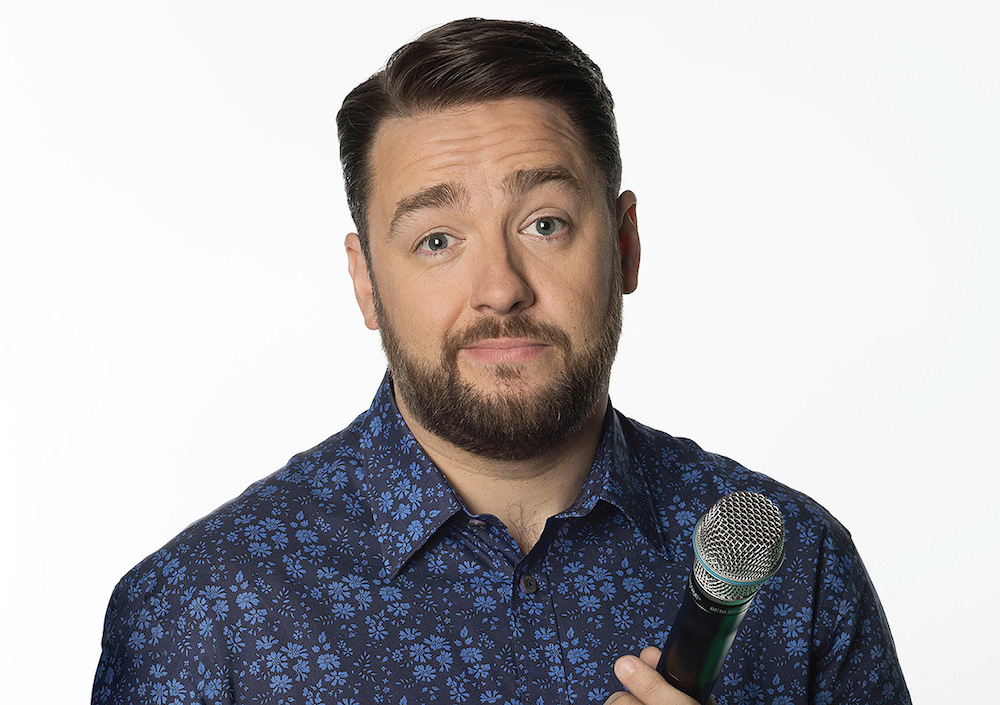 jason manford in blue shirt against white background