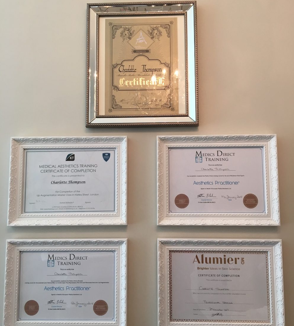 certificates on wall