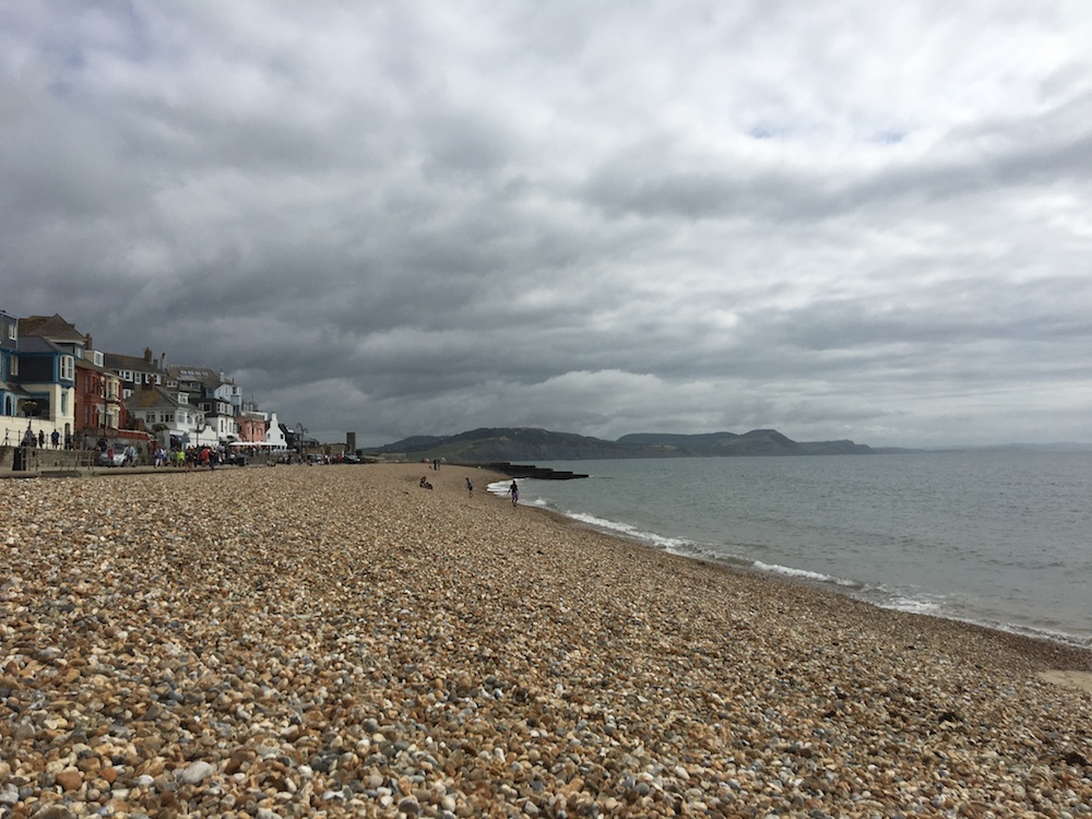 pebble beach grey sky lyme regis