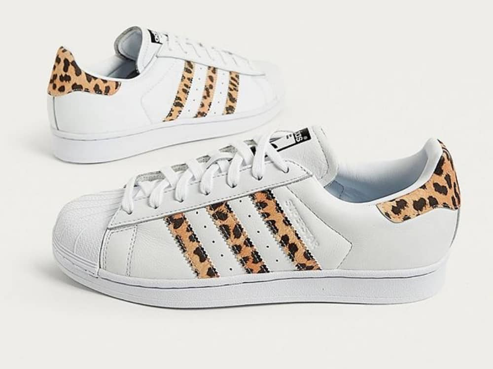 white and leopard print trainers
