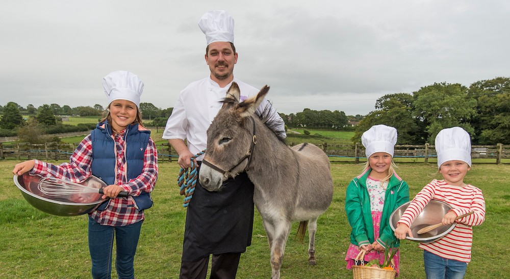 chef with donkey and children