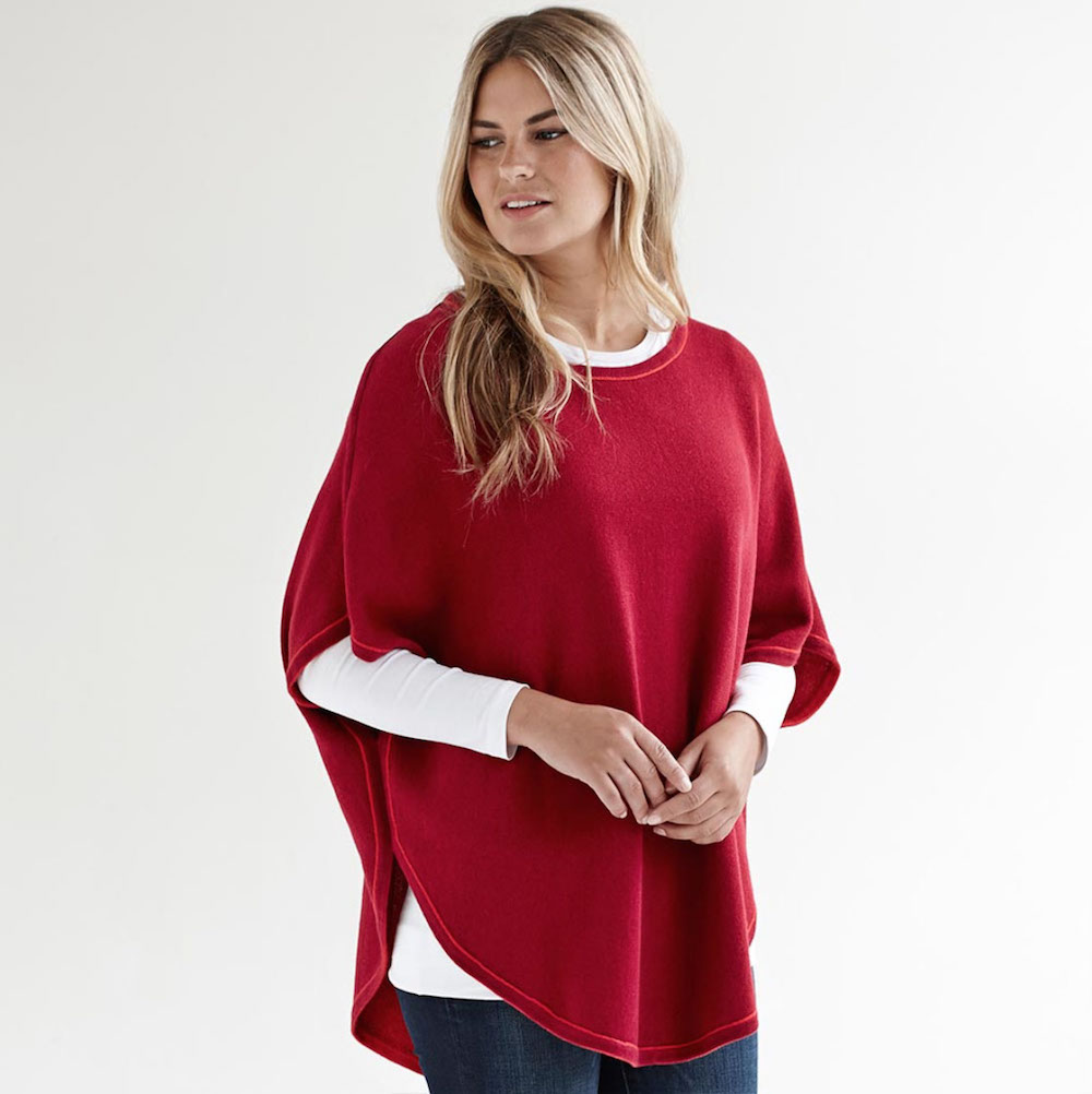 woman in red poncho