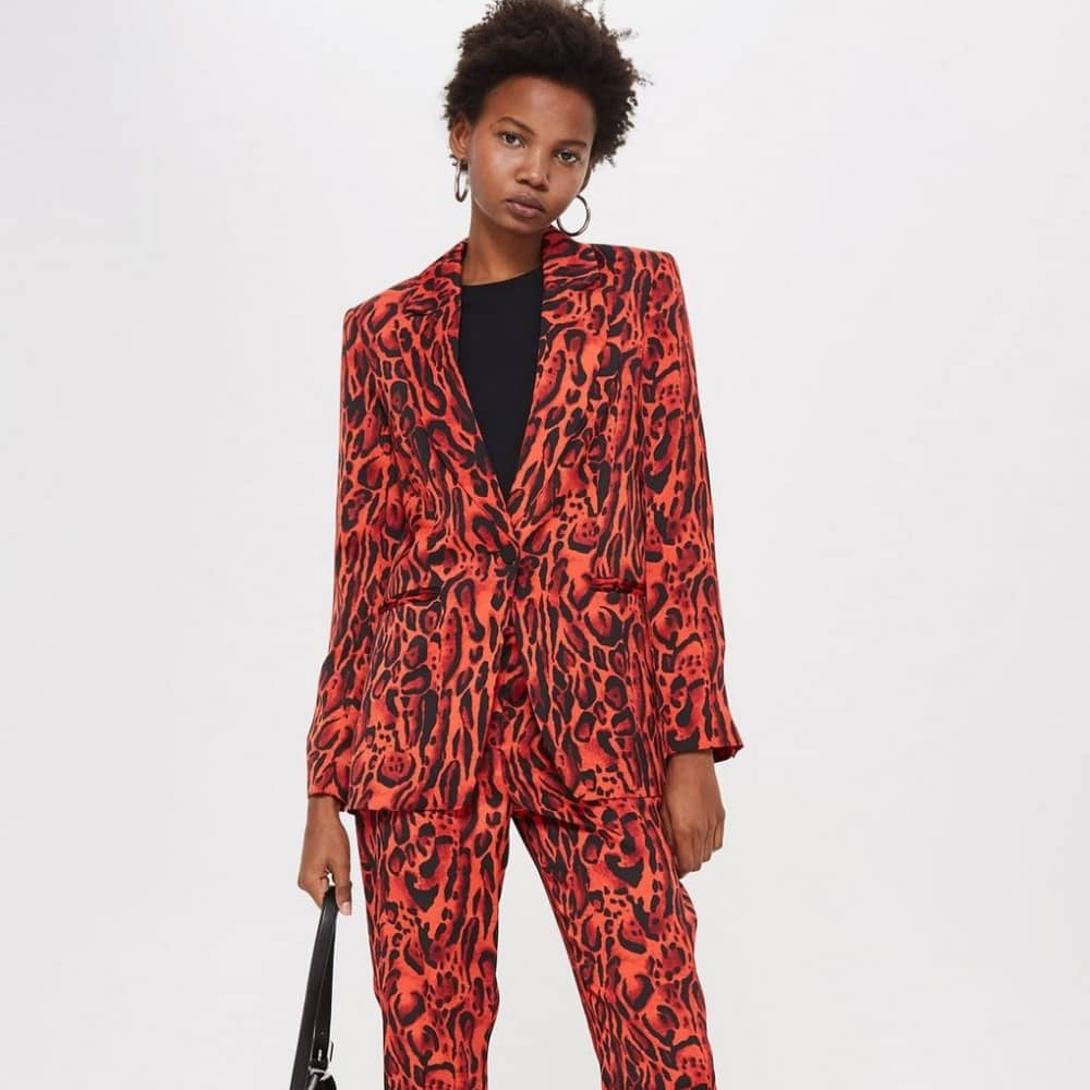 red leopard print suit
