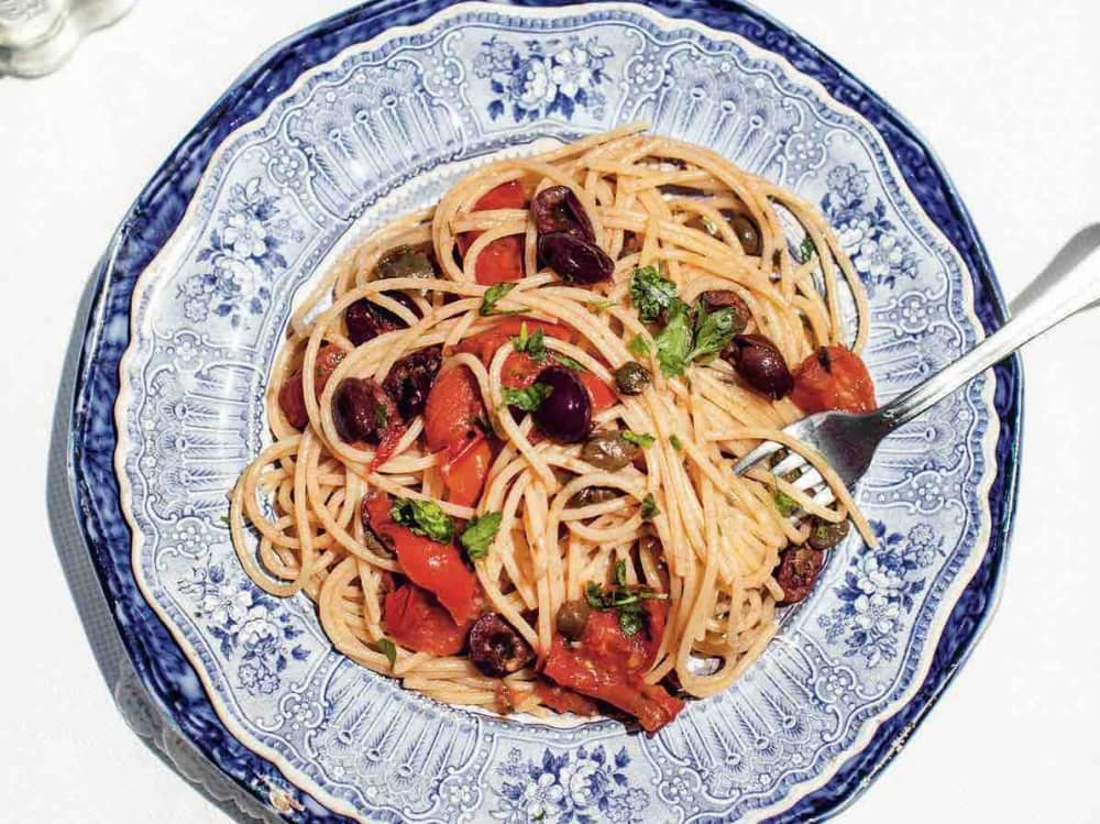 pasta dish on blue plate