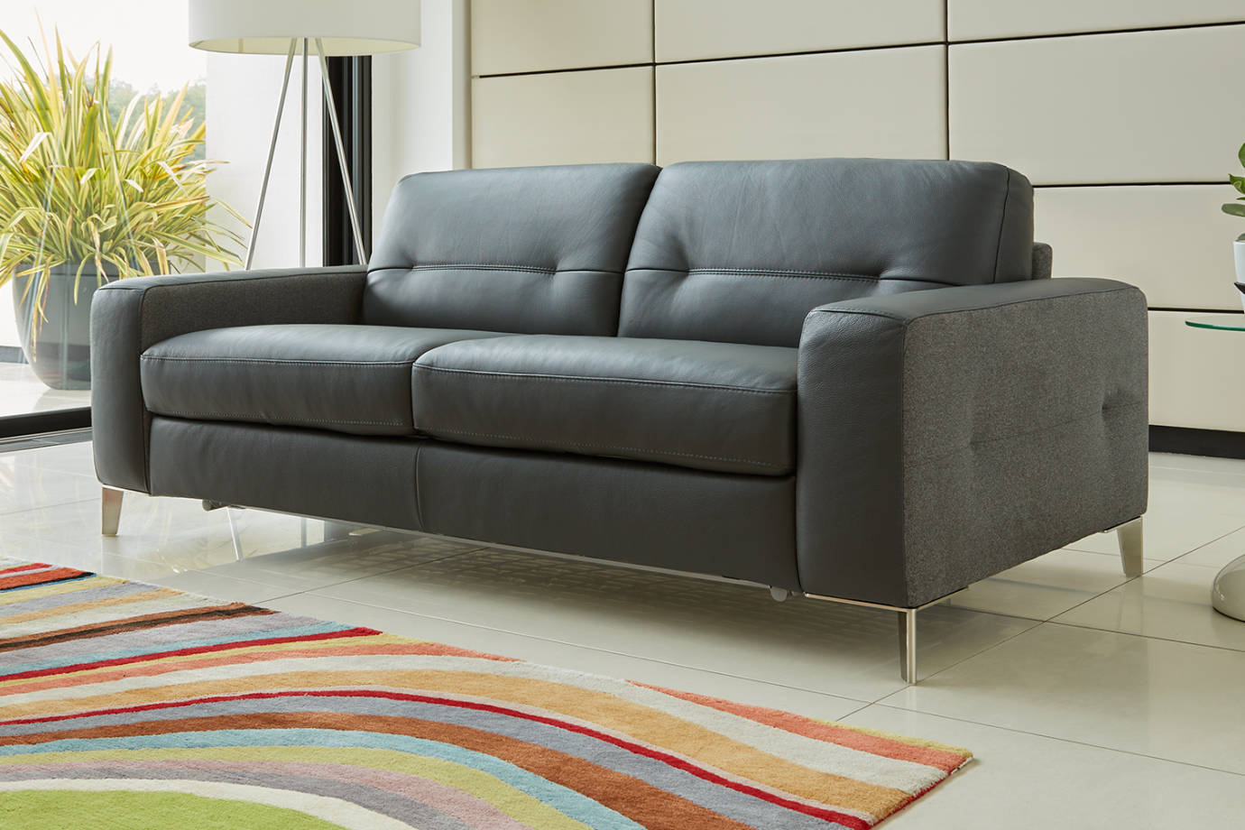 Grey fabric and leather sofa