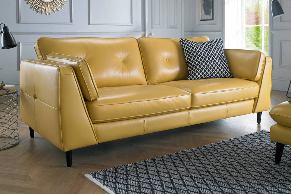 yellow leather sofa
