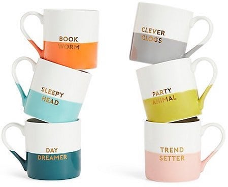coloured slogan mugs