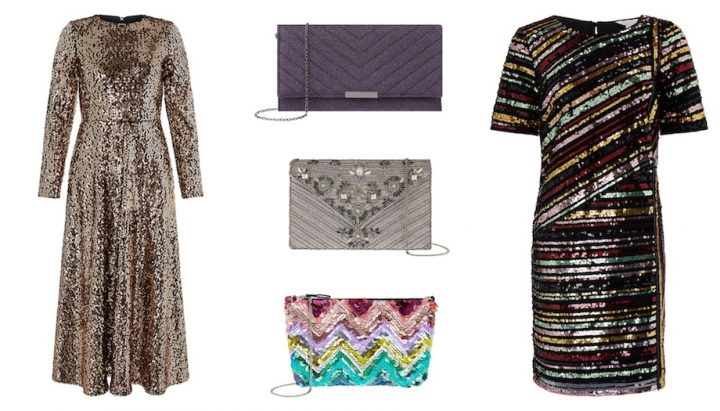 sparkly dresses and bags