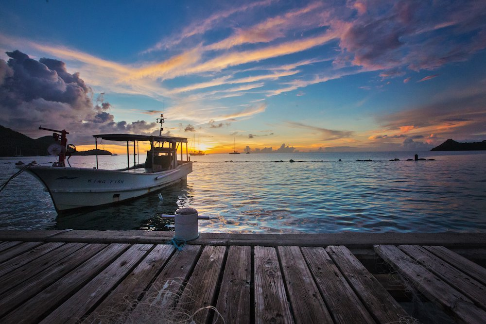 st lucia harbour at sunset