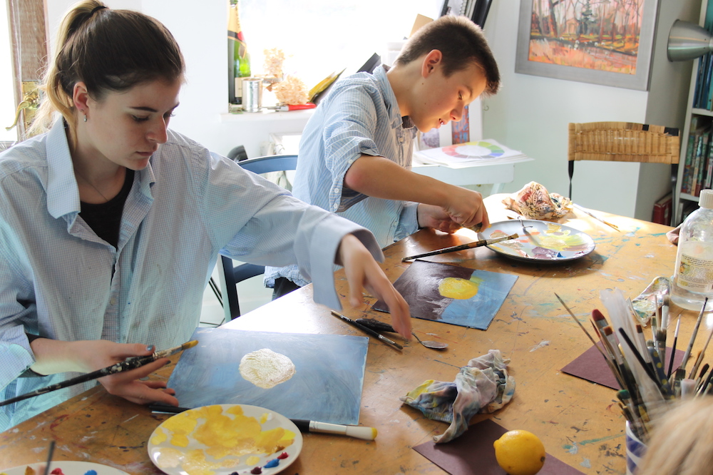 students in art classroom