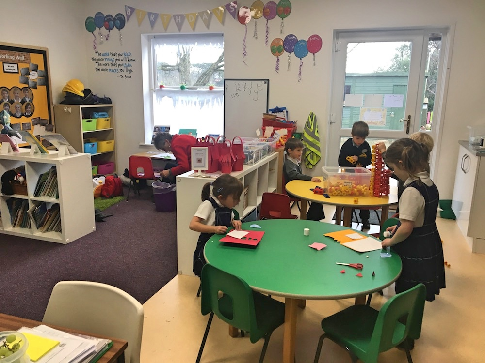 children in pre school classroom