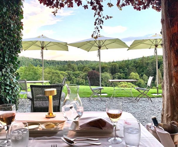 Table laid on the terrace at Hotel Endsleigh